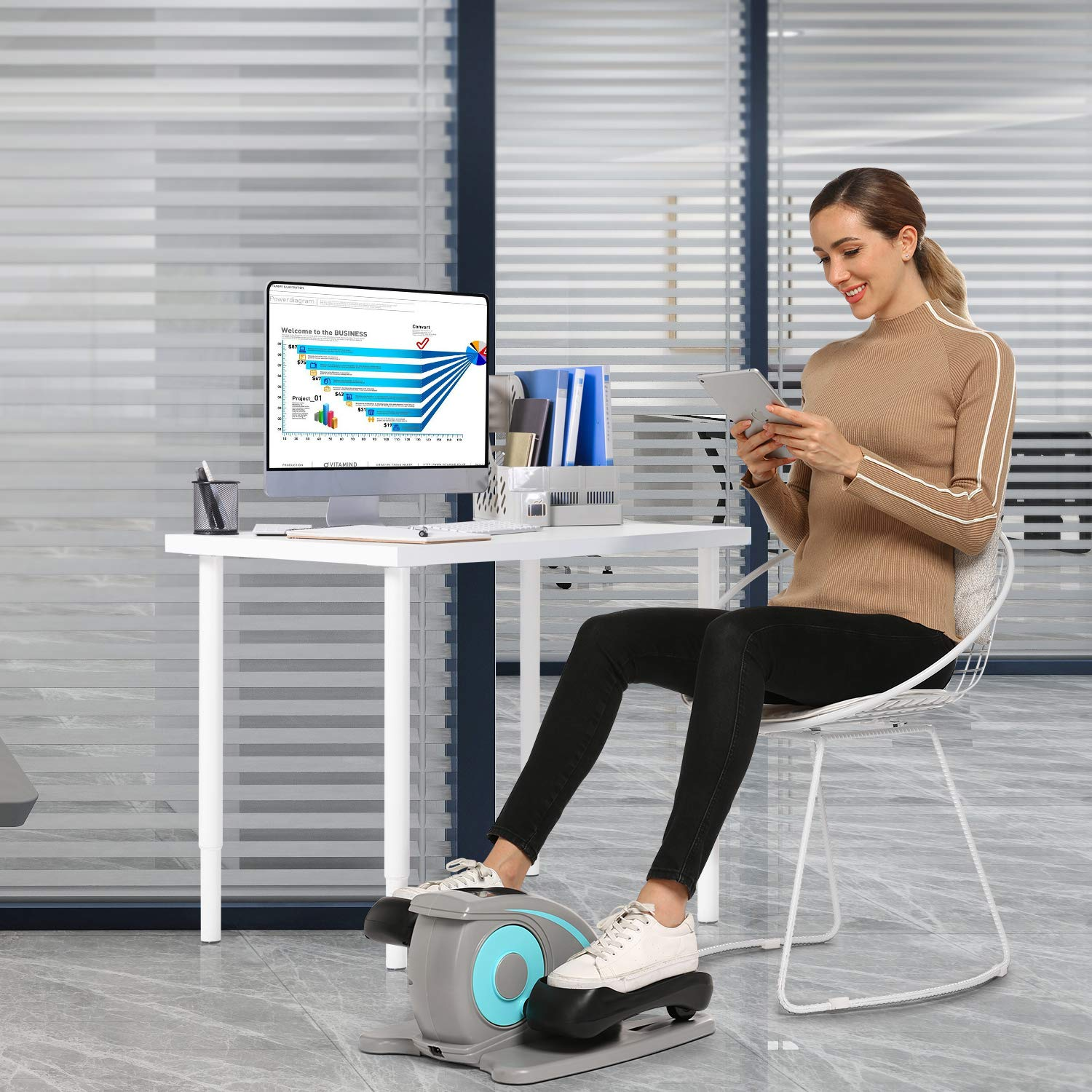 ANCHEER Desk Elliptical w/Built in Display Monitor, Quiet & Compact, Electric Elliptical Machine Trainer (Gray) by ANCHEER (Image #5)