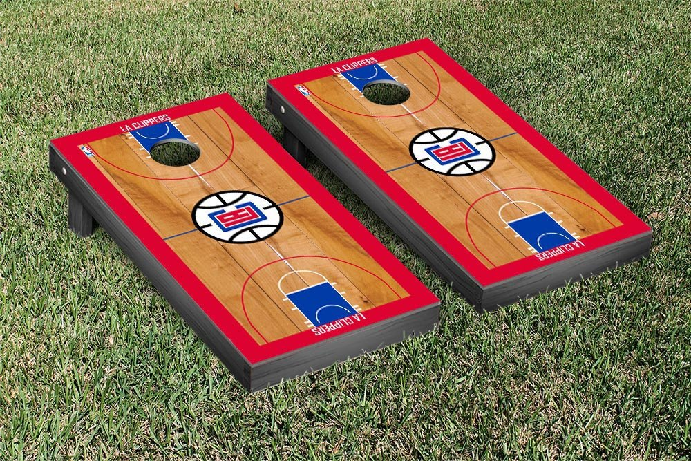 Los Angeles LA Clippers NBA Basketball Regulation Cornhole Game Set Basketball Court Version by Victory Tailgate