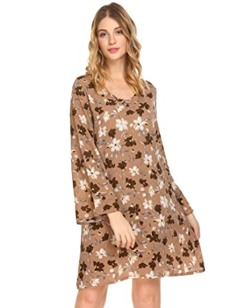 3ae45cf176 Tinkwell Women's Floral Print Casual Long Sleeve A Line Dress Bell Sleeve  at Amazon Women's Clothing store: