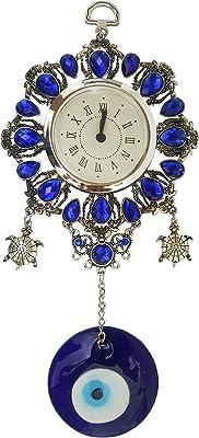 Mehrunnisa Turkish Evil Eye Turtle Wall Clock Good Luck Charm Hanging In Glass (MEH658)