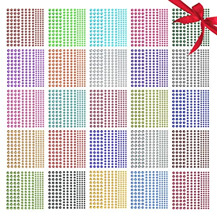 31b4b78906 Rhinestone Stickers,Nicpro Self-Adhesive Face Gems Face Stickers Body  Jewels 4125 Pieces Crystal in 3 Size 25 Colors,25 Embellishments Sheet for  ...