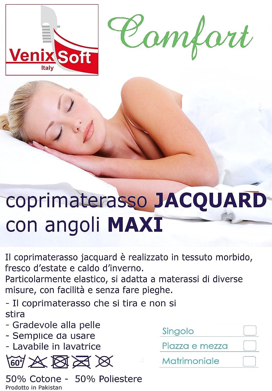 venixsoft Coprimaterasso spugna cotone Jacquard con angoli estendibili con elastici PIAZZA E MEZZA 120-140 x 190-195-200