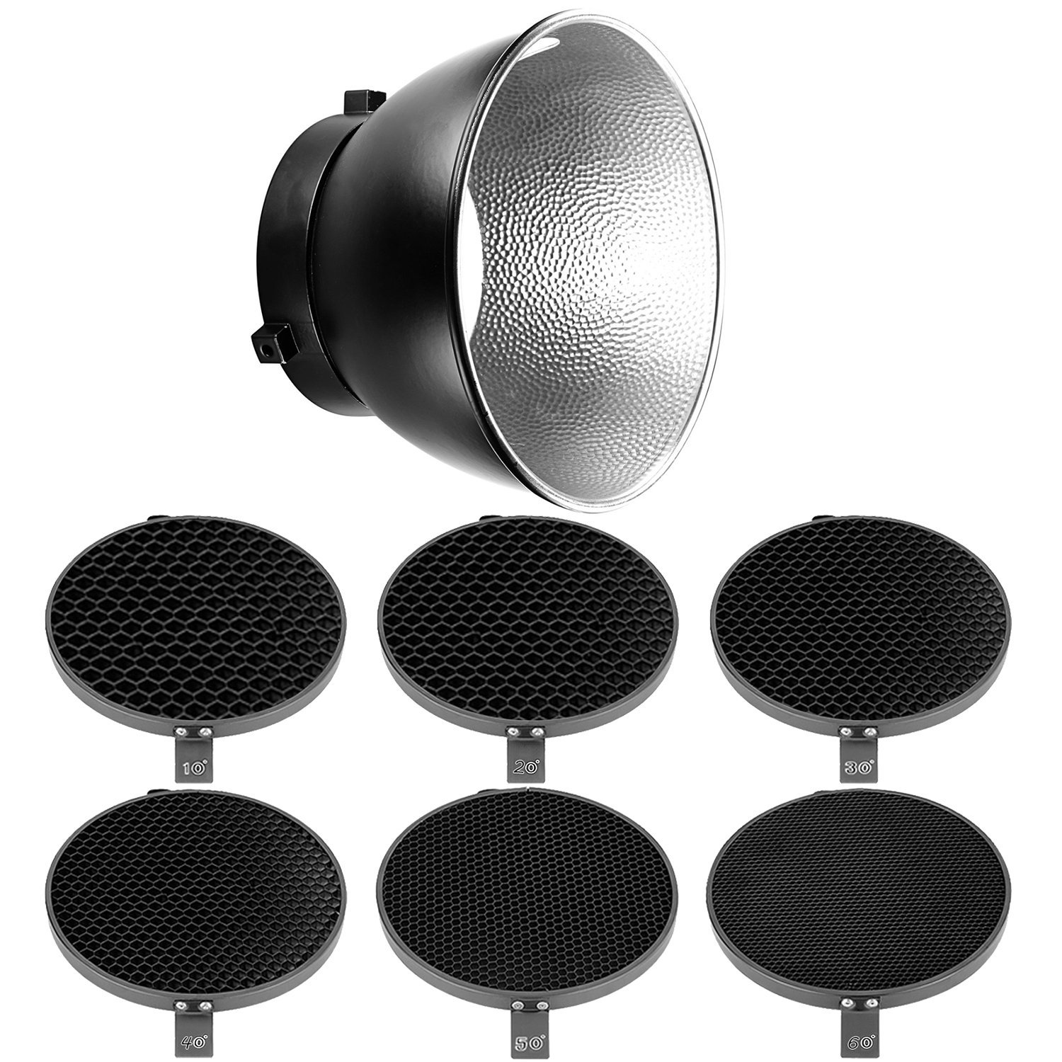 Neewer 7 inches/18 centimeters Standard Reflector Diffuser with 10/20/30/40/50/60 Degree Honeycomb Grid for Bowens Mount Studio Strobe Flash Speedlite Like Vision 4,Vision 5,DS300,S-300N,S-400N