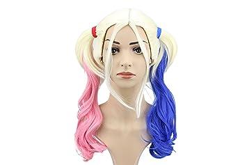 Harley Quinn peluca pelotón del suicidio del partido de Halloween traje rosa azul degradado Cola de