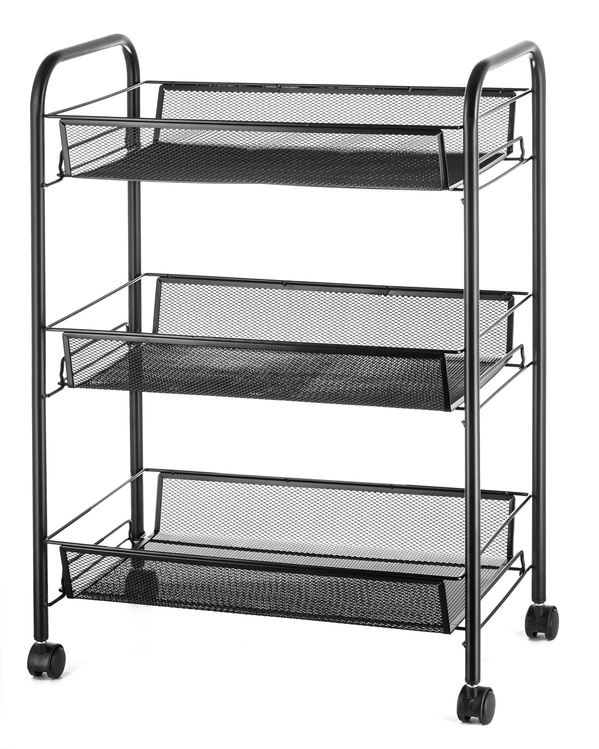 Halter 3-Tier Rolling Basket Stand, Full Metal Rolling Trolley for Kitchen & Bathroom - Three Tier Storage Cart w/Shelves & Wheels - 24.75'' X 17.25'' - Black