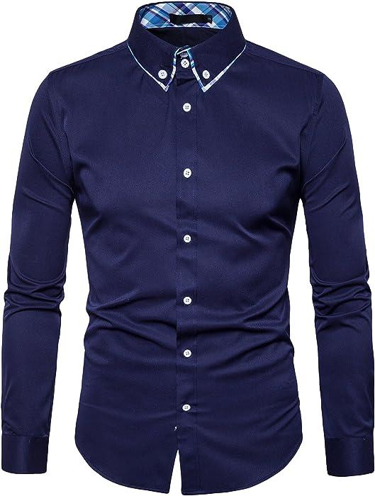 f2a034247 TONLEN Hombres Camisas Casual Camisa de Vestir Hombre Camisas Formales