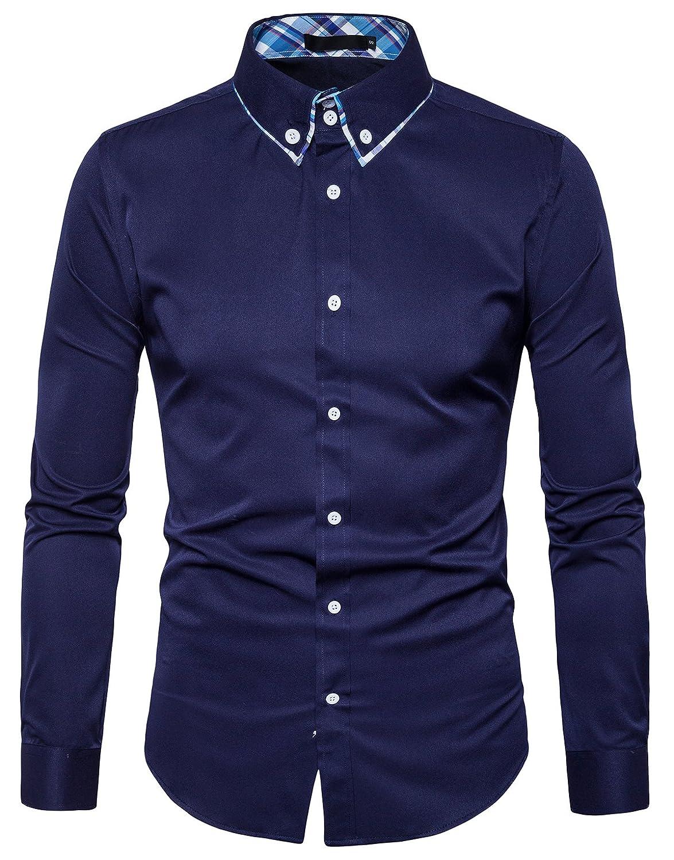 TALLA EUR L. TONLEN Hombres Camisas Casual Camisa de Vestir Hombre Camisas Formales