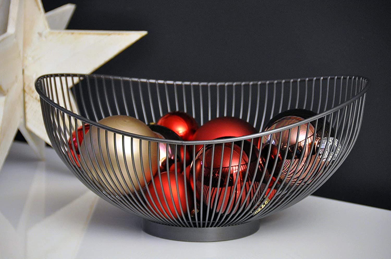 /Negro////Decorativa Dise/ñador Frutero CALUTEA Moderna Frutero////Metal////Acero Gris/