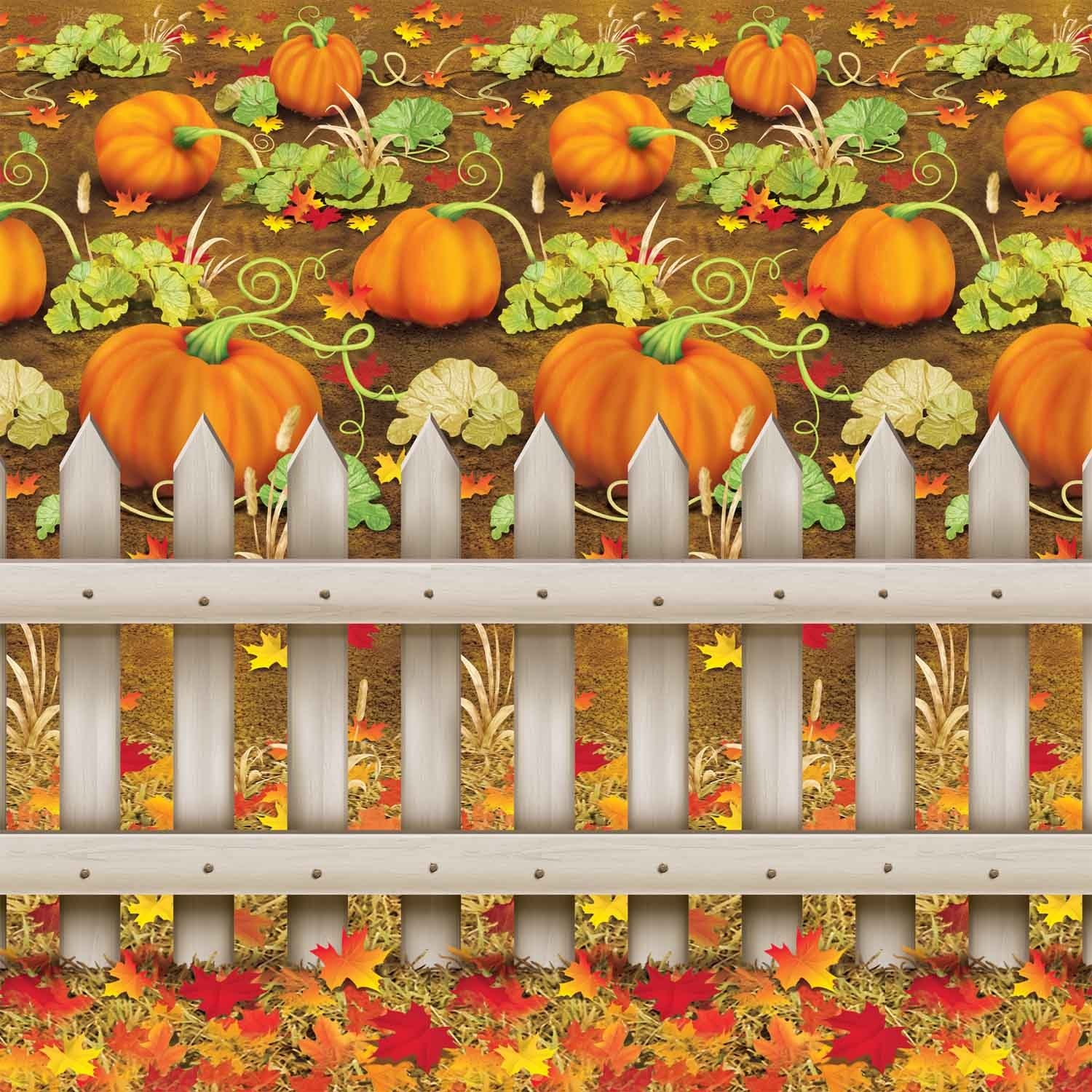 Beistle 1-Pack Decorative Pumpkin Patch Backdrop, 4-Feet by 30-Feet by Beistle