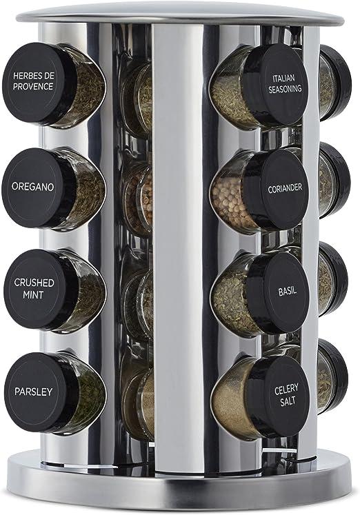 Kamenstein 30020 Revolving 20-Jar Countertop Spice Rack Tower Organizer with ...