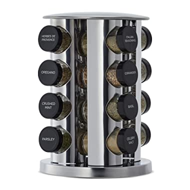 Kamenstein 5181434 Revolving 16-Jar Countertop Spice Rack Tower Organizer with Free Spice Refills for 5 Years