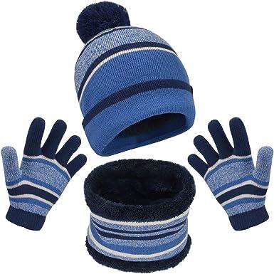 3Pcs Kids Winter Beanie Hat Scarf Mittens Set Baby Toddler Knitted Beanie Hat Neck Scarf Warmer Gaiter Gloves