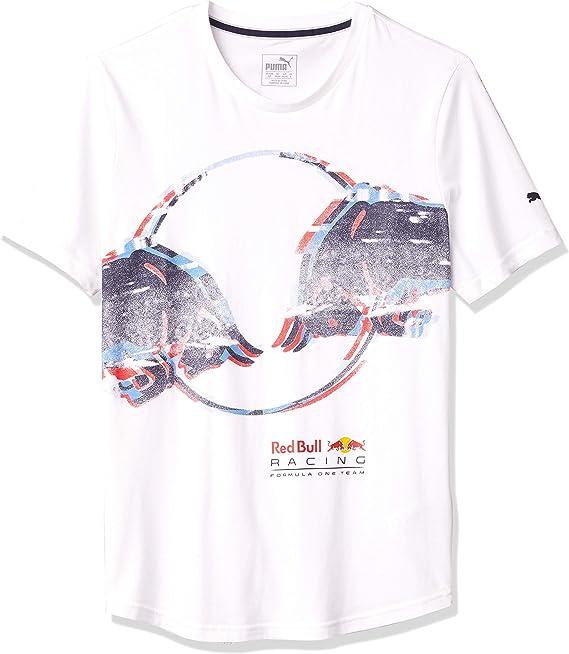 Puma Red Racing Double Bull T Shirt Für Herren Weiß Mittel Bekleidung