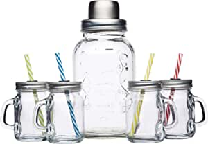 BarCraft Vintage-Style Glass Cocktail Set (with Cocktail Shaker and 4 Mini Drinking Jars)