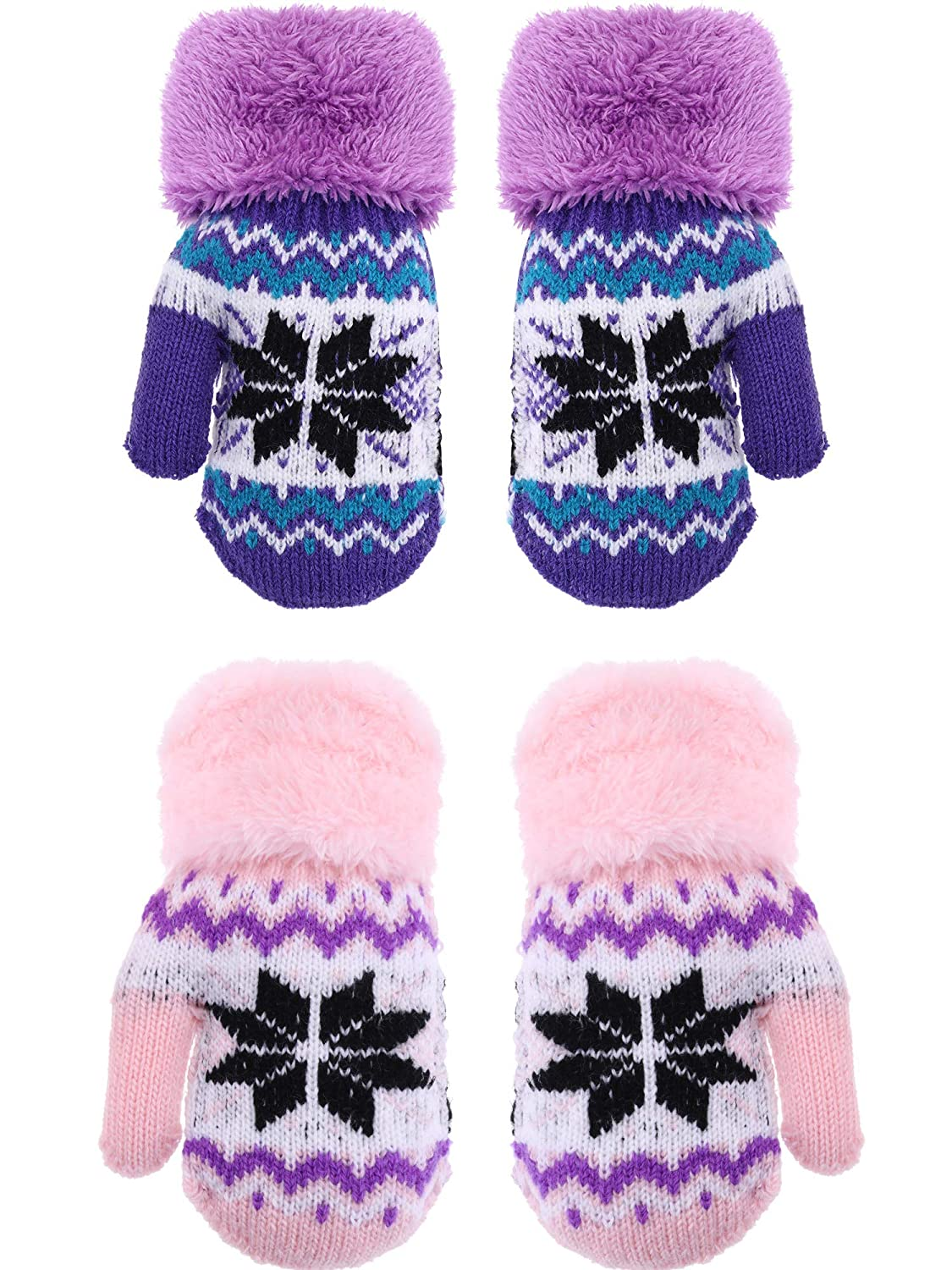 Boao 2 Pairs Kids Winter Gloves Full Fingers Knit Mittens Snowflake Pattern Warm Gloves for 2-5 Years Supplies