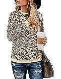BMJL Women's Leopard Print Tops Crew Neck Sweatshirt Long Sleeve Cute Hoodies Pullover