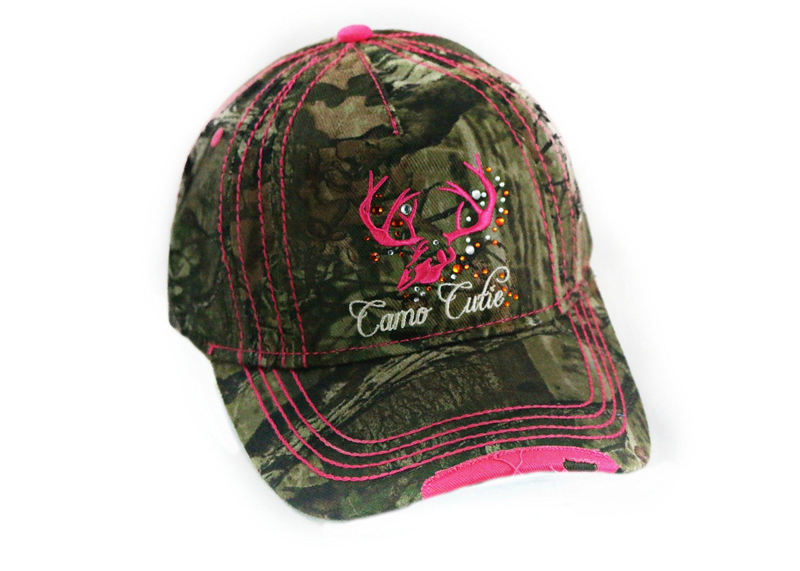Camo Cutie Cap,Mossy Oak Camo Cap with pink Trim and logo