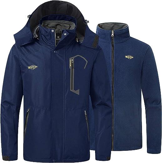 Wantdo Men's 3 في 1 Mountain Waterproof Ski Jacket Windproof Rain Jacket Winter Warm Snow Coat