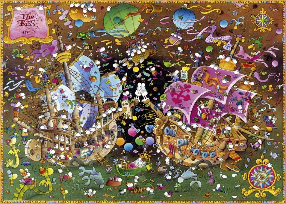 2000 Teile Dreieckspuzzle Guillermo Mordillo The Kiss Heye 29699