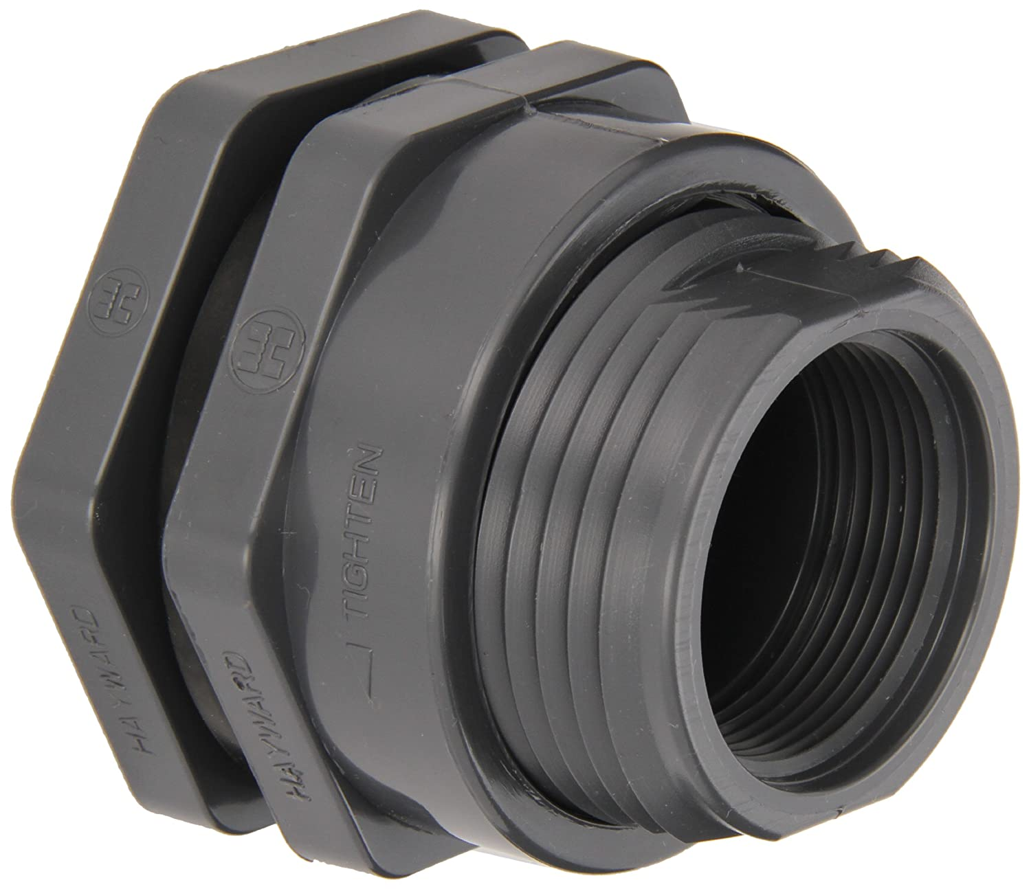PVC with EPDM Seals Socket x Threaded End 1-1//2 Size Hayward BFAS1015CES Series BFAS Short Pattern Bulkhead Fitting