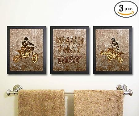 Amazon Com Dirt Bike Motorcycle Atv Themed Bathroom Wall Decor Art Prints Set Of Three Posters
