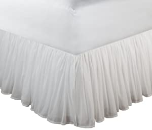 Greenland Home Fashions Cotton Voile Bedskirt, White, King