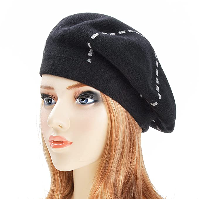 ZLYC Womens Reversible Cashmere Beret Hat Double Layers French Beret ... 0a874e22f87