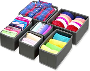 Foldable Dresser Drawer Organizer Storage Bins With Removable Sectional Dividers - Set of 6 - Black - For Clothes Like Underwear, Socks, Scarf and Undergarments Like Bra, Lingerie, Pantyhose
