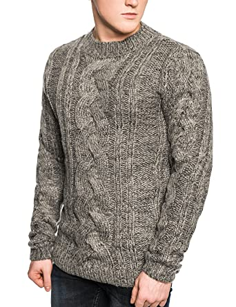 5ebfa0ff6fcc7 Bellfield Men s Knitted Jumper - Chunky Cable Knit - Wool Blend Sweater -  Sand (M
