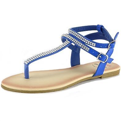 c18e4b47396628 alpine swiss Womens Blue Slingback T-Strap Rhinestone Thong Sandals 5 M US