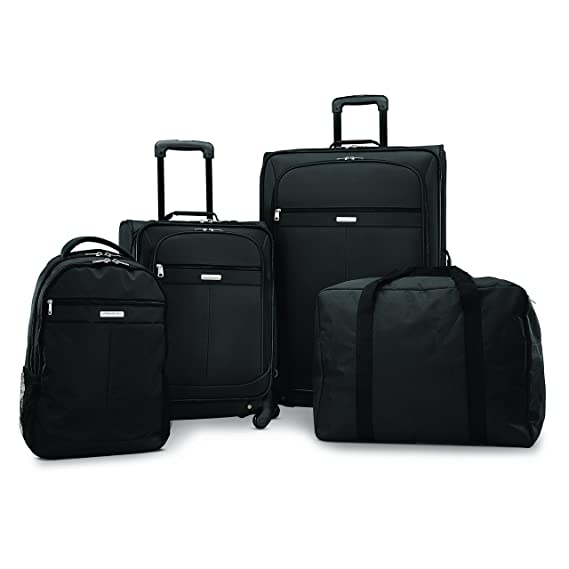 "American Tourister Lightweight Four-Piece Spinner Set (21""/28""/Backpack/Duffel), Black"