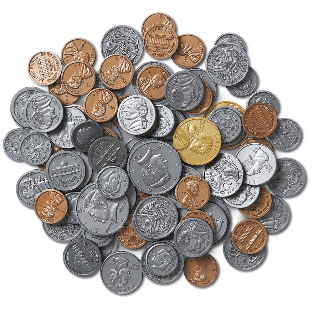 plastic coins for student math manipulatives