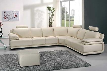 Amazon Com Vig Furniture A31 Modern White Leather Sectional Sofa