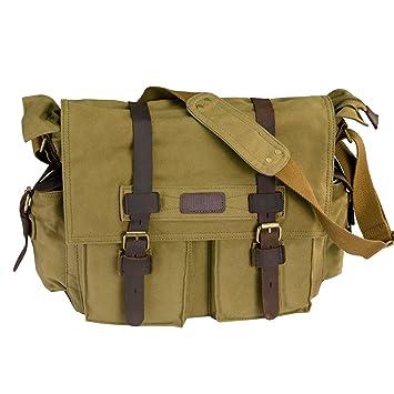 Amazon.com: LUXUR Casual Vintage Canvas Classic Messenger Bag Anti ...