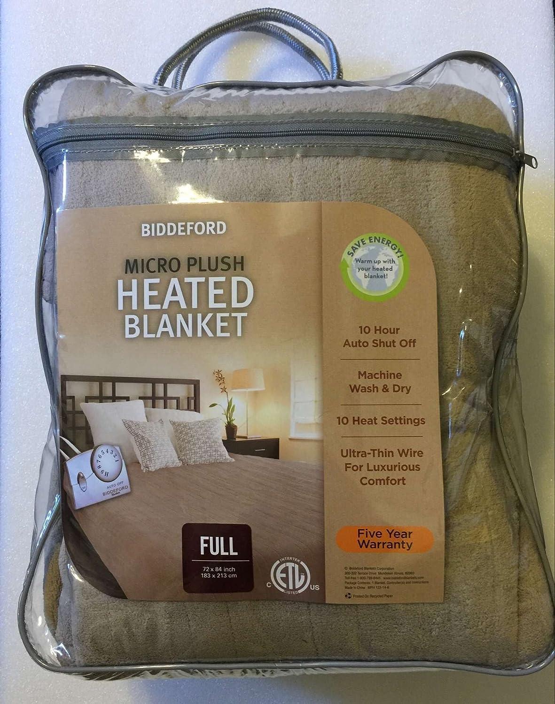Amazon Com Biddeford Full Heated Electric Blanket Taupe Microplush Throw Home Kitchen