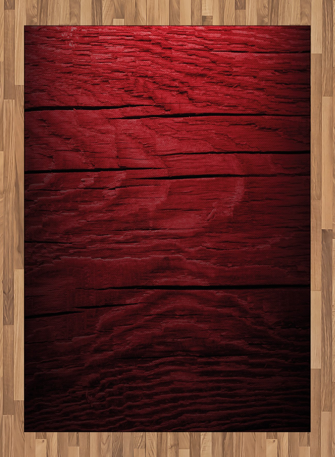 Maroon Area Rug by Lunarable, Wooden Planks Timber Board Ancient Tree Texture Image Rustic Country Life Theme, Flat Woven Accent Rug for Living Room Bedroom Dining Room, 5.2 x 7.5 FT, Maroon Black