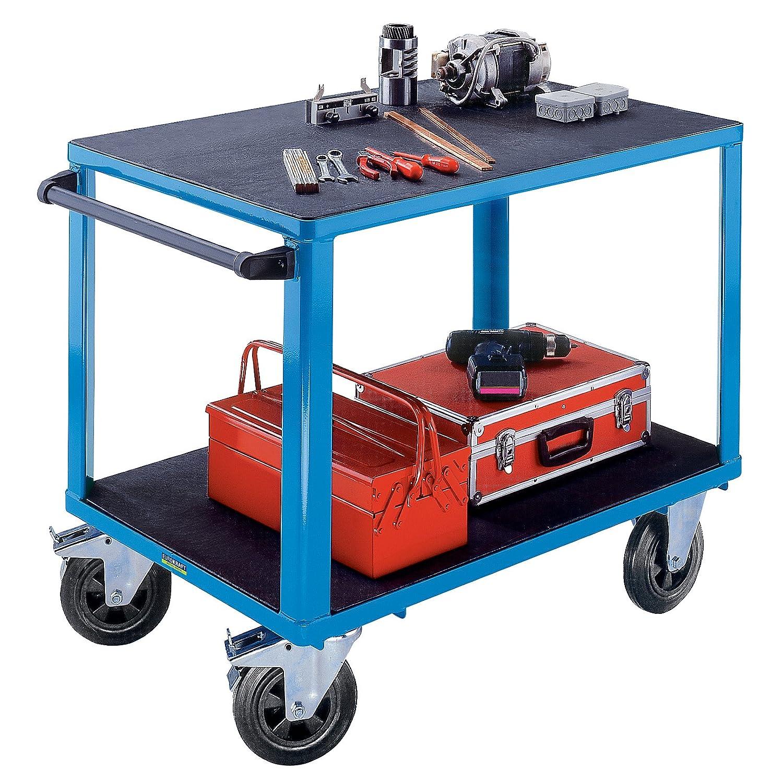 2 Ladefl/ächen Arbeitstisch Werkstattwagen Handwagen EUROKRAFT ACTIVE GREEN Montagewagen Tragf/ähigkiet 500 kg Lichtblau