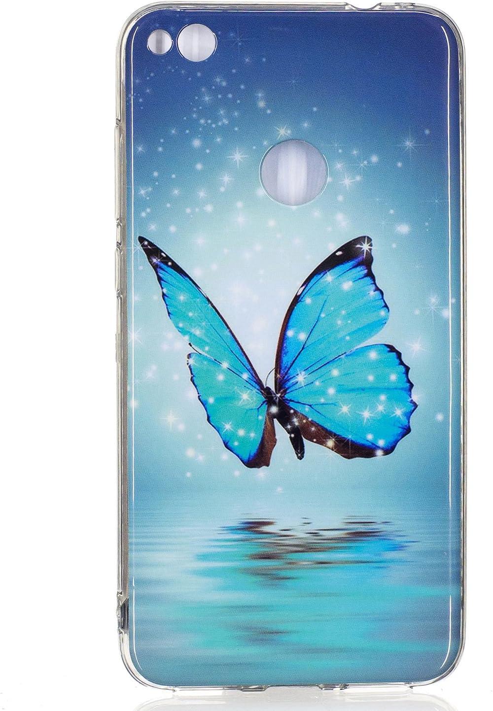 ISAKEN Compatibile con Huawei P8 Lite 2017 Custodia - Agganciabile Luminosa Cover Caso con Lampeggiante Ultra Sottile Morbido TPU Cover Rigida Gel ...