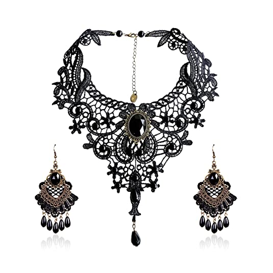Vintage Style Jewelry, Retro Jewelry Eternity J. Elegant Vintage Black Lace Victorian Lolita Gothic Pendant Choker Necklace Earrings Set $10.99 AT vintagedancer.com