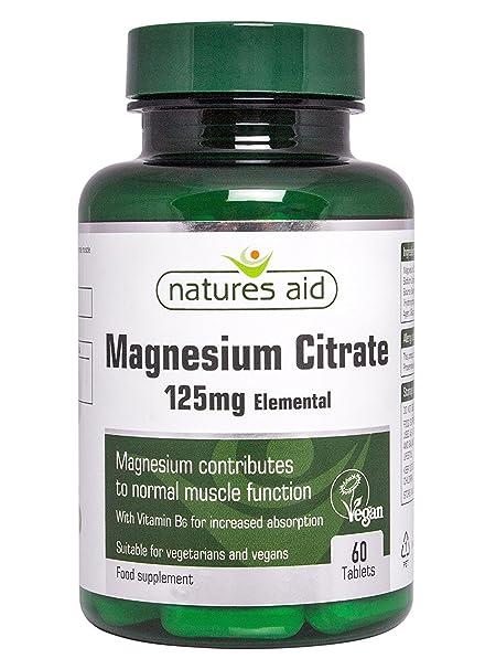 Natures Aid citrato de magnesio 125 mg de vitamina B6 60 por paquete
