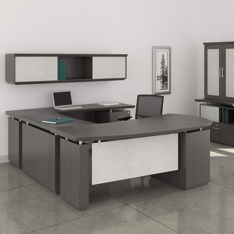 Modern U-Shaped Executive Desk with Optional Hutch & Cabinet, Private  Office Meeting Room (U-Shaped w Left Return, Textured Mocha)