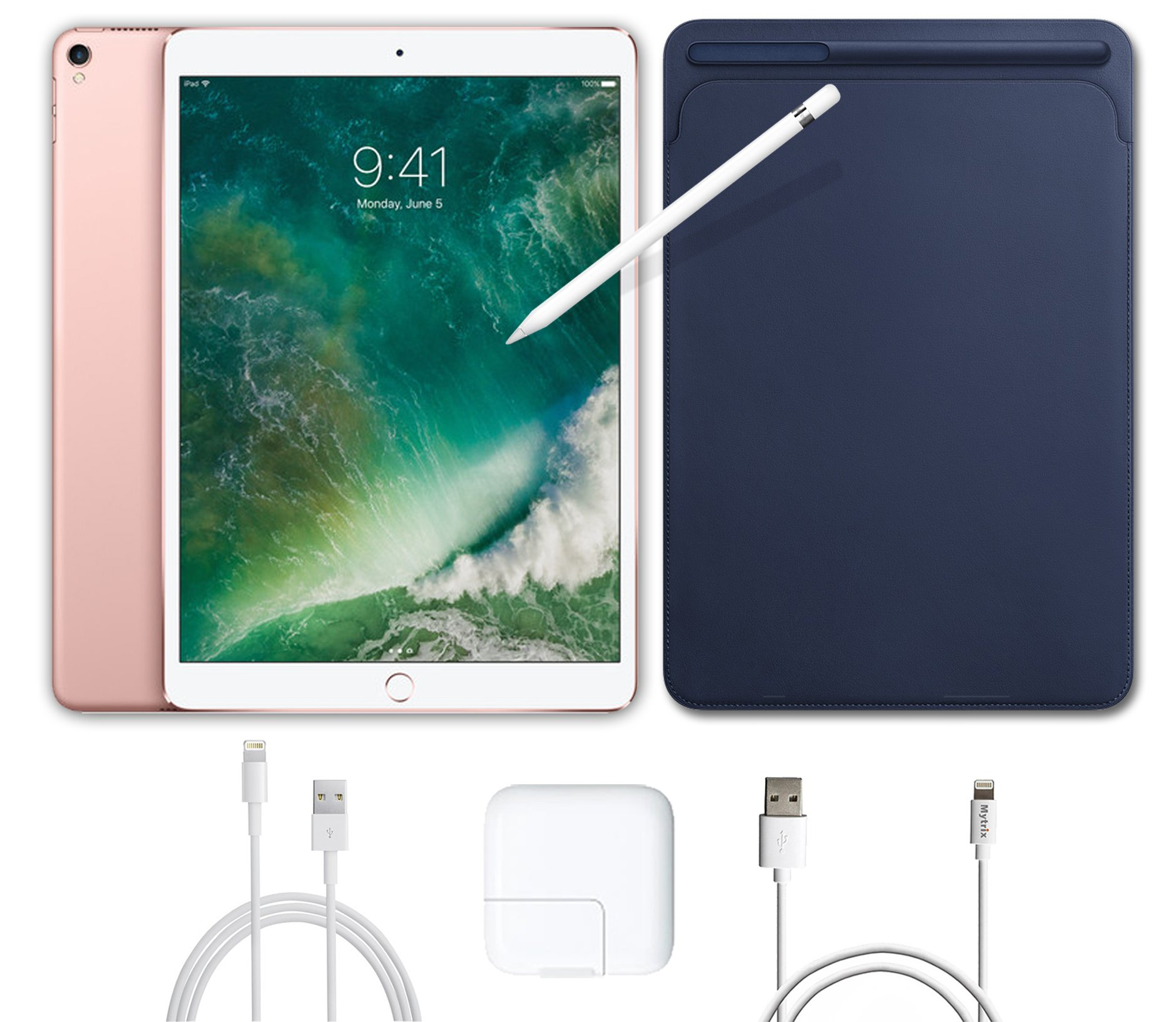 2017 New IPad Pro Bundle (4 Items): Apple 10.5 inch iPad Pro with Wi-Fi 512 GB Rose Gold, Leather Sleeve Midnight Blue, Apple Pencil and Mytrix USB Apple Lightning Cable by uShopMall (Image #1)