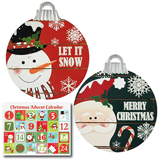 Amazon.com: Ropeastar Christmas Rustic Wooden Signs and Advent Calendar Set, Indoor and Outdoor Holiday Home Decor Set, Christmas Wall or Door Wood Sign, ...