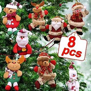 TURNMEON Plush Christmas Ornaments Set, 8 Pieces Christmas Tree Plush Hanging Ornaments Decorations Santa/Snowman/Elk/Bear Ornaments for Christmas Tree Pendant Holiday Party Decor