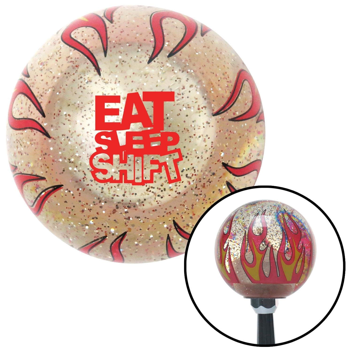 Red Eat Sleep Shift Clear Flame Metal Flake with M16 x 1.5 Insert American Shifter 295498 Shift Knob