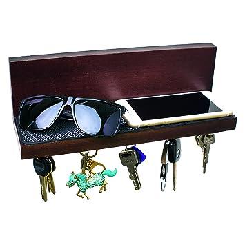 Beautiful BOOYOOM Wall Mount Magnetic Key Holder U0026 Smart Floating Key Shelf U2013 Black  Walnut Wooden Organizer