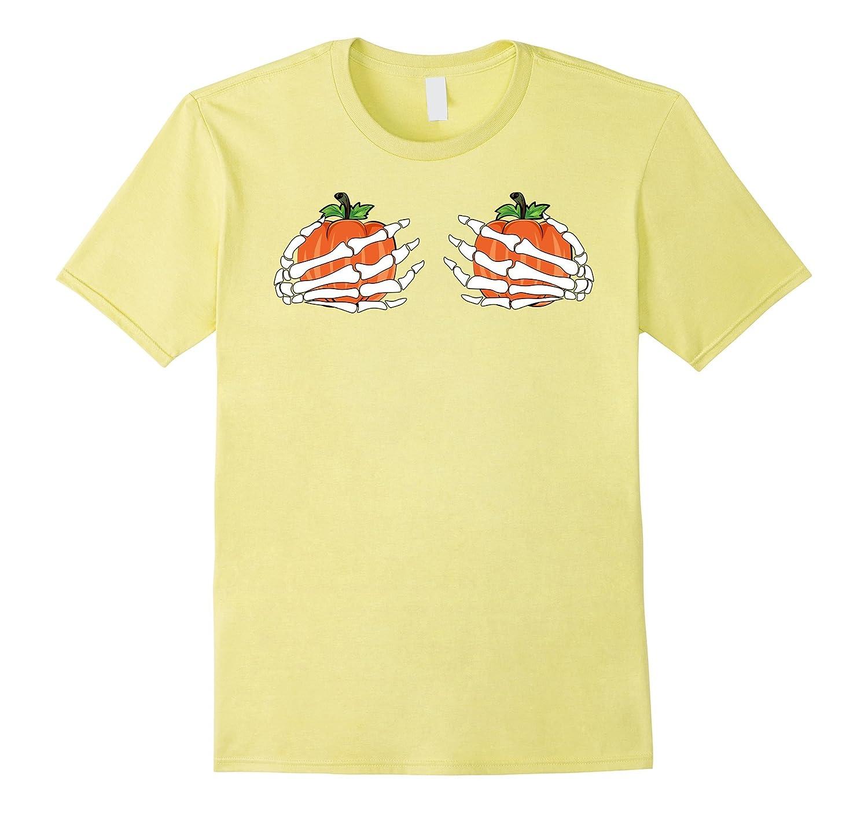 Halloween Pumpkin Girls with Skeleton Hands Women's Shirt-Art