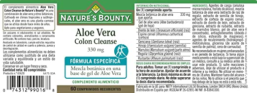 Natures Bounty Aloe Vera Colon Cleanse 330 Mg - 60 Comprimidos: Amazon.es: Salud y cuidado personal