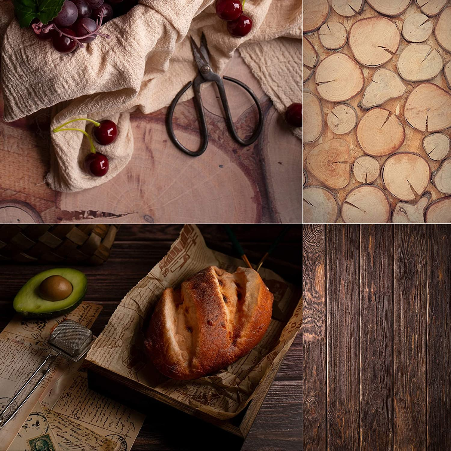 Selens 2x3ft/60x90cm Round Wood Photography Backdrop Paper 2 in 1Flat Lay Backdrops Food Photography Background Tabletop Backdrop Props for Jewelry Makeup Small Product Desktop Backdrop