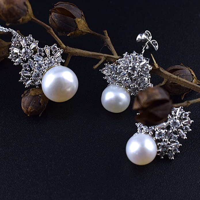 JIANGXIN Big Pearl Earring Studs Pendant Necklace for Women Bridal Jewellery Set I9giN8